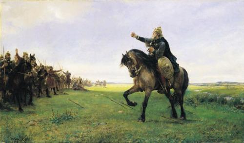 Готський вождь викликає гунів на бій (П. Н. Арбо, 1886)