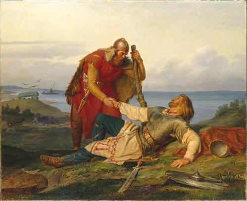 Прощання  Одда Стріли з Х'яльмаром на березі Дніпра (П. Н. Арбо, 1866)